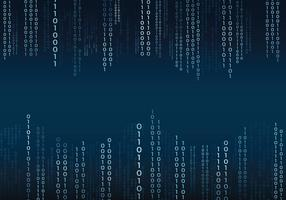 Blauwe Binaire Tekst In Matrix Stijl Achtergrond vector