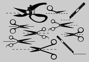 Knip hier pictogrampak vector
