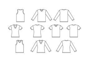 Gratis V Neck White Shirt Sjabloon Vector