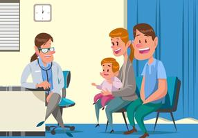 Pediatrician Vector Met Baby En Zijn Ouders