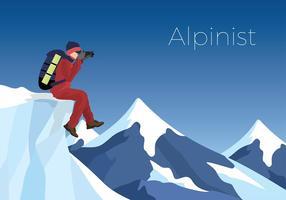 Alpinist Op De Peak Gratis Vector