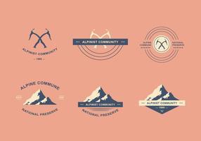 Alpinist logo set vector