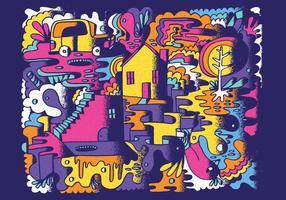 Kleurrijke Abstracte Krabbel Vector