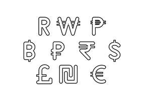 Gratis valuta symbool lijn icoon vector