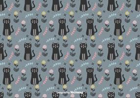 Katten En Bloemen Vector Patroon