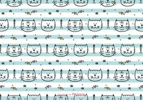 Hand getekende katten vector patroon