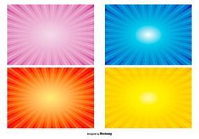 Kleurrijke Radiant Sunburst Achtergronden vector
