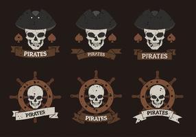 Pirate Banner Logo Sjabloon Gratis Vector