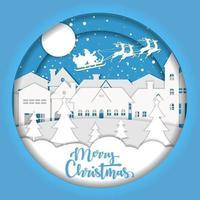 vrolijk kerstpapier kunstontwerp met de kerstman over de stad vector