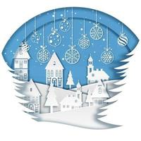 vrolijke kerst winters tafereel met papieren kunstontwerp vector