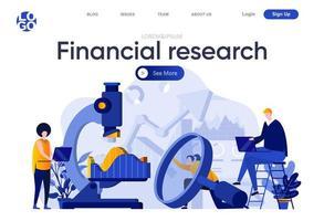 platte bestemmingspagina voor financieel onderzoek vector