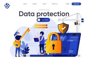 platte bestemmingspagina voor gegevensbescherming vector