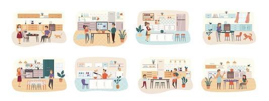 kookbundel van scènes met karakters van platte mensen