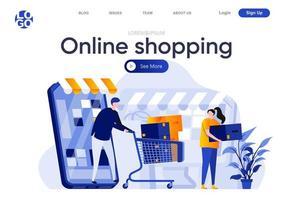 online winkelen platte bestemmingspagina vector