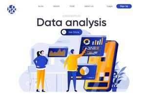 data-analyse platte bestemmingspagina vector