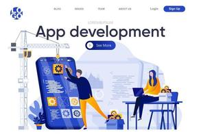 app-ontwikkeling platte bestemmingspagina vector