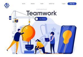 teamwerk platte bestemmingspagina vector