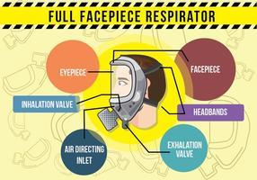 Respirator volledig gezicht infographic vector