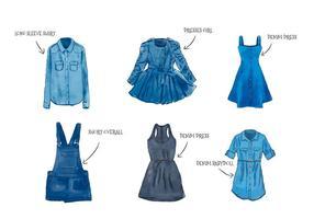Vrouwelijke Waterverf Blauwe Jean Kleren Set Collectie vector