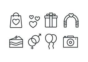 Strand bruiloft iconen