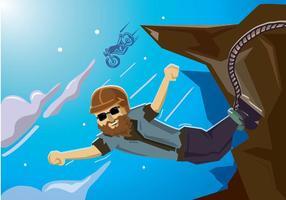 Fietser bungee springen met motorfiets
