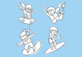 Kinderen die sportieve vectoren oefenen
