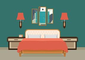Bed Room Vector Illustratie