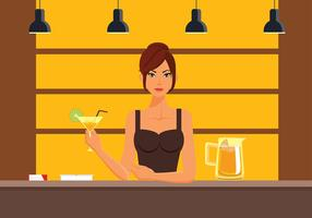 Vrouw Mocktail Bar Gratis Vector