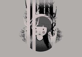 Meisje In Lithografie Stijl Vector