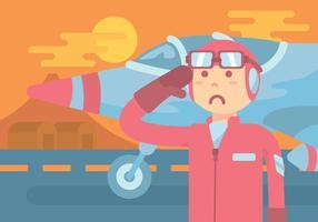 Kamikaze pilot vector