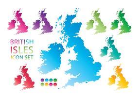 Kleurrijke Britse Eilanden Kaart Pictogram vector