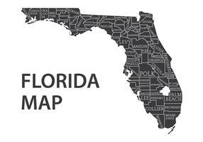 Florida Kaart Met Counties Vector