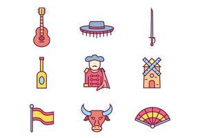 Spanje Cultuur Pictogrammen vector