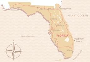 De vintage Kaart van Florida vector