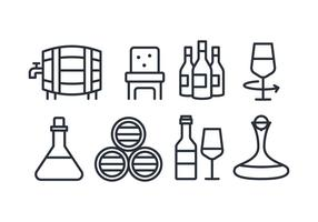Flat line wine icons vector