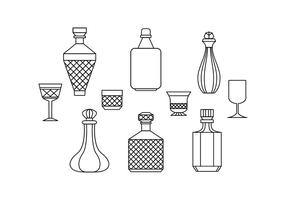 Gratis Kristallen Decanter Lijn Pictogram Vector