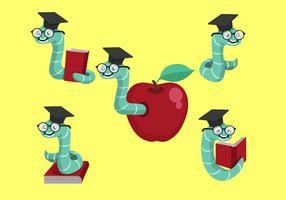 Boekworm Cartoon Vector Collectie