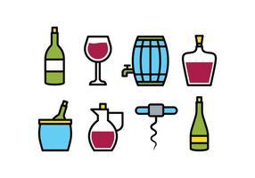 Wijn icoon pack vector