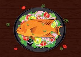 Flounder Fish Seafood Vector Illustratie
