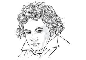 Tekening Illustratie Van Ludwig Van Beethoven vector