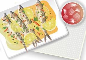 Sardine Gekookt Met Citroen vector
