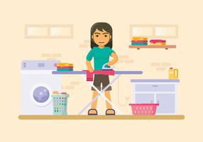 Waskamer Met Strijkplank Illustratie vector