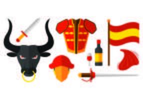Set van Bull Fighter Pictogrammen vector
