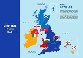 Britse Eilanden Kaart Gratis Vector