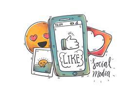 Waterverf Sociale Media Elementen En Telefoon vector