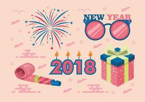 Gelukkig Nieuwjaar 2018 Vector Set
