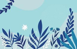 blauwe thema florale achtergrond met plant vector