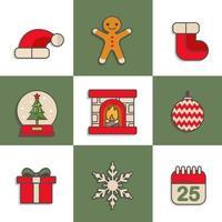 schattig kerstpictogram met schaakbordachtergrond
