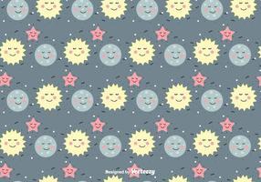Zon, Maan En Ster Vector Patroon