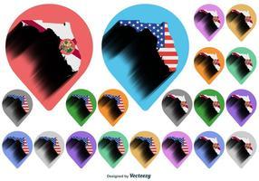 Vector Florida Kaart Pictogram Met Florida Vlag En Amerikaanse Vlag